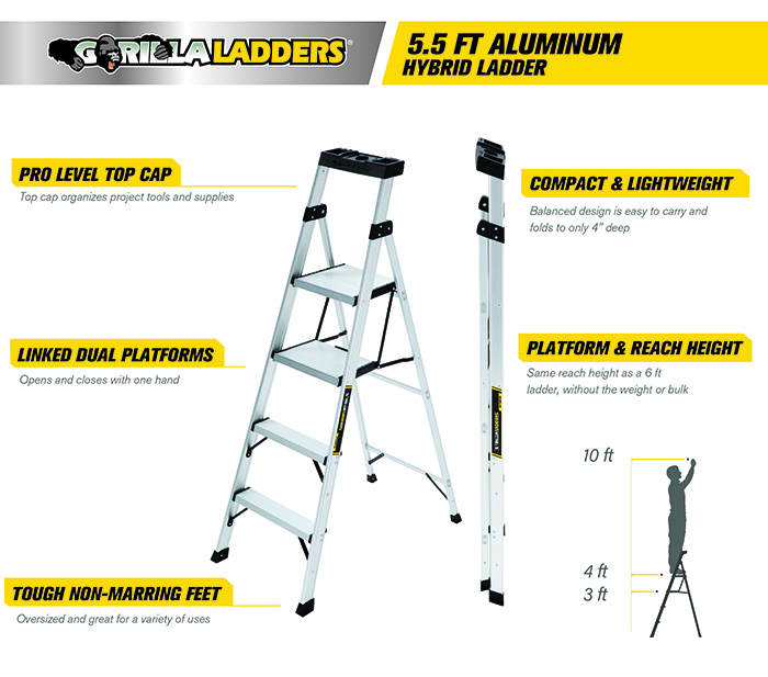 Gorilla Ladders 5.5 ft. Aluminum Hybrid Ladder