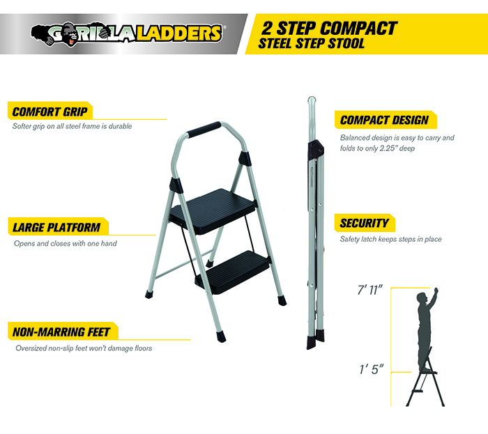 Gorilla Ladders 2 Step Compact Steel Step Stool With 225