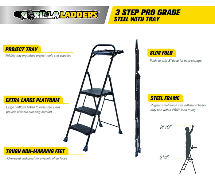 Gorilla Ladders 3-Step Steel Pro-Grade Project Ladder