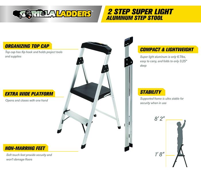 Gorilla Ladders 2 Step Aluminum Step Stool Ladder With 225