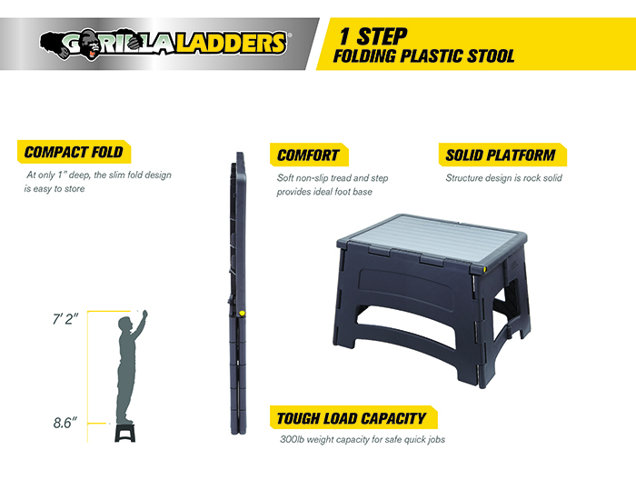 Gorilla Ladders 1 Step Plastic Stool With 300 Lb Load