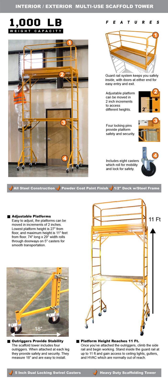 Scaffolding Set Up : Pro series ft story rolling scaffold tower with