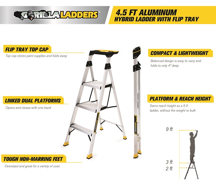 Gorilla Ladders 4 5 Ft Aluminum Hybrid Ladder With Tray