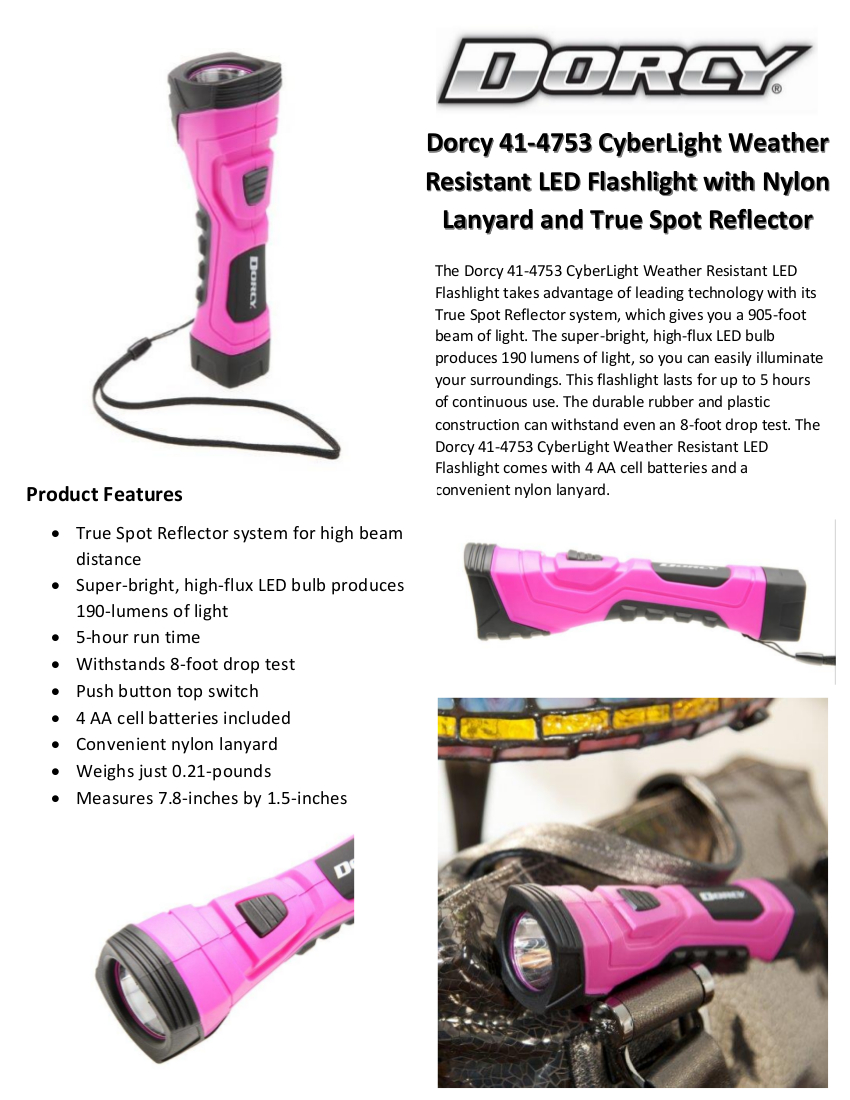 Dorcy CyberLight Weather Resistant LED Flashlight with Nylon Lanyard and True Spot Reflector ...