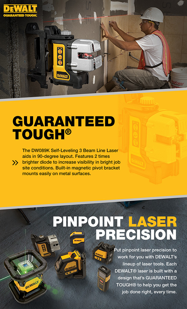 Dewalt Self Leveling 3 Beam Line Laser Dw089k The Home Depot