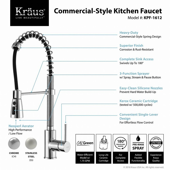 Kraus Commercial Style Single Handle Pull Down Kitchen
