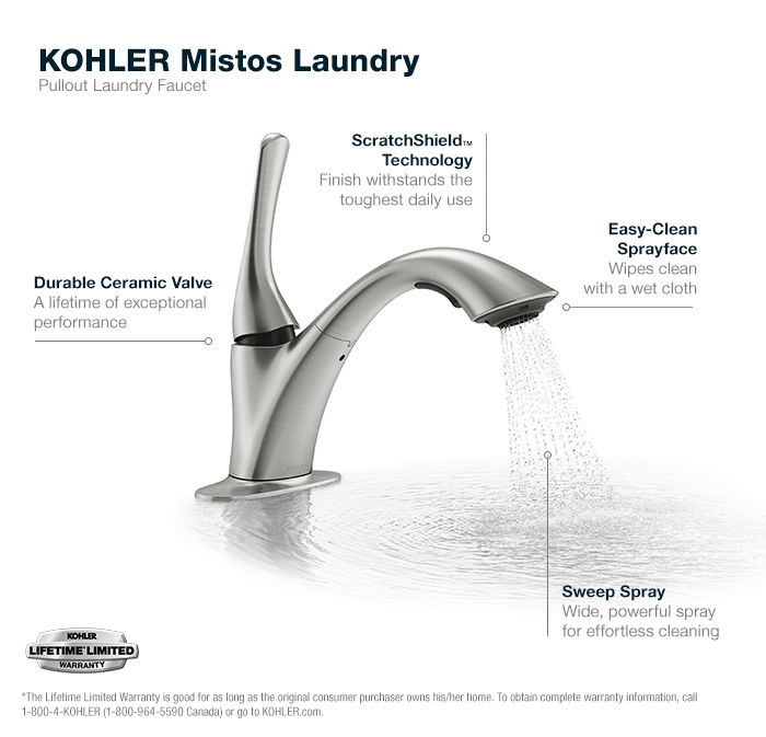 KOHLER Mistos 1Handle PullOut Laundry Faucet in Vibrant