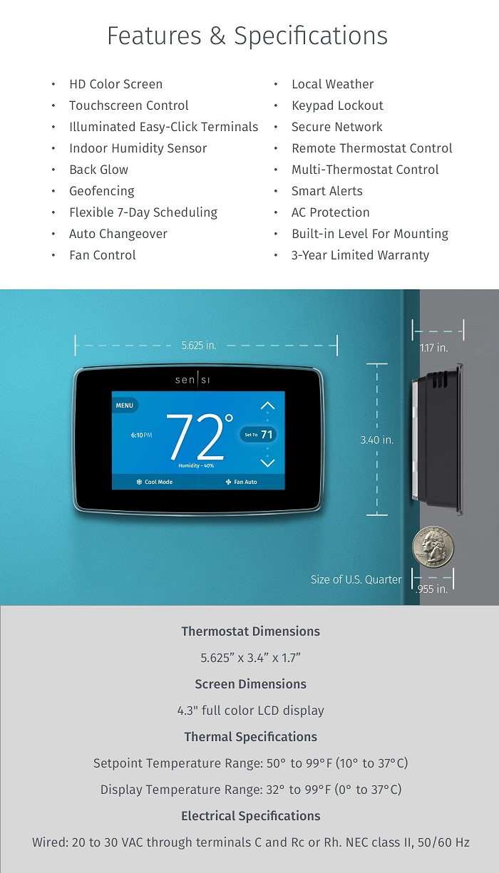 sensi emerson sensi touch wi fi thermostat with. Black Bedroom Furniture Sets. Home Design Ideas