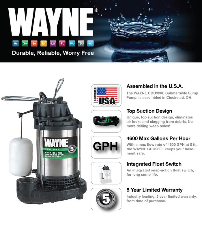 product overview the wayne cdu980e submersible sump pump - Watchdog Sump Pump
