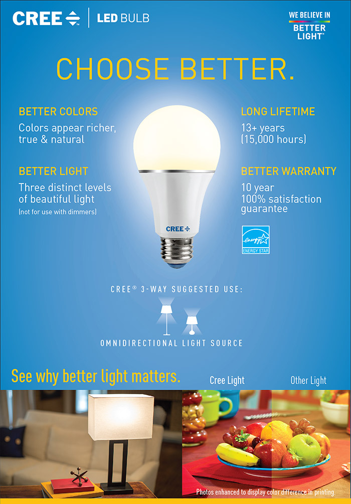 Cree 30 60 100w Equivalent Soft White 2700k A21 3 Way