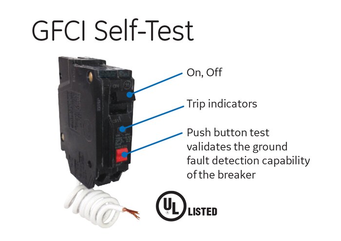 Ground Fault Indicator Testers : Ge amp single pole ground fault breaker with self test