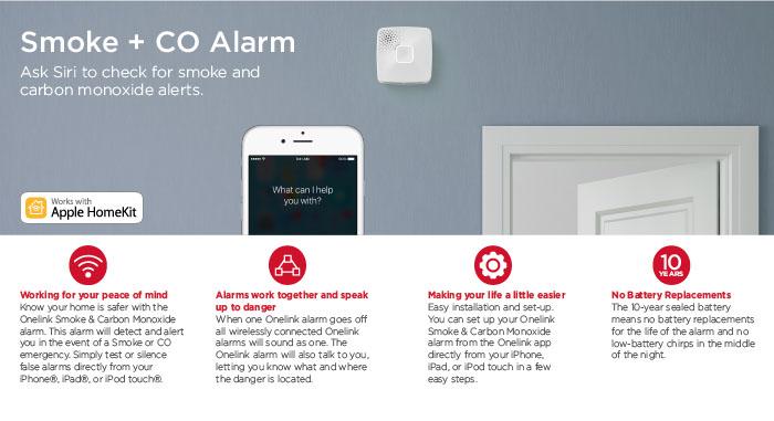 first alert onelink wi fi smoke carbon monoxide alarm battery apple homek. Black Bedroom Furniture Sets. Home Design Ideas