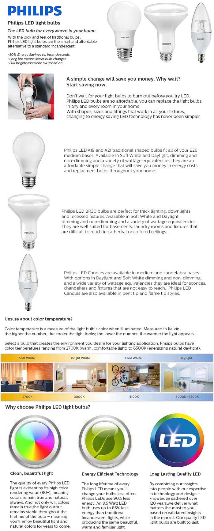 Led Light Bulb Daylight: Philips 60W Equivalent Daylight A19 LED Light Bulb (16