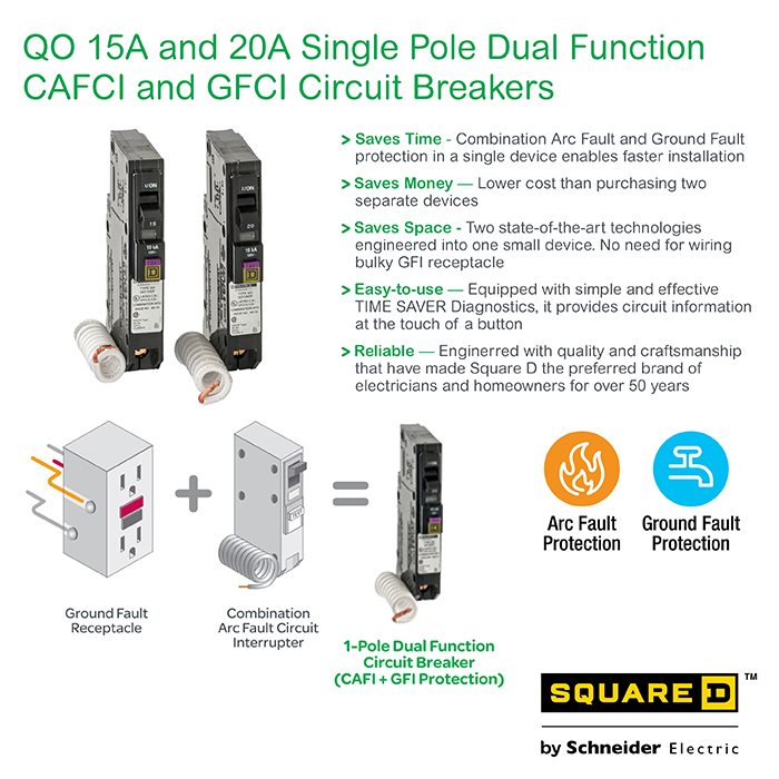 square d qo 20 amp single pole dual function cafci and gfci info guides