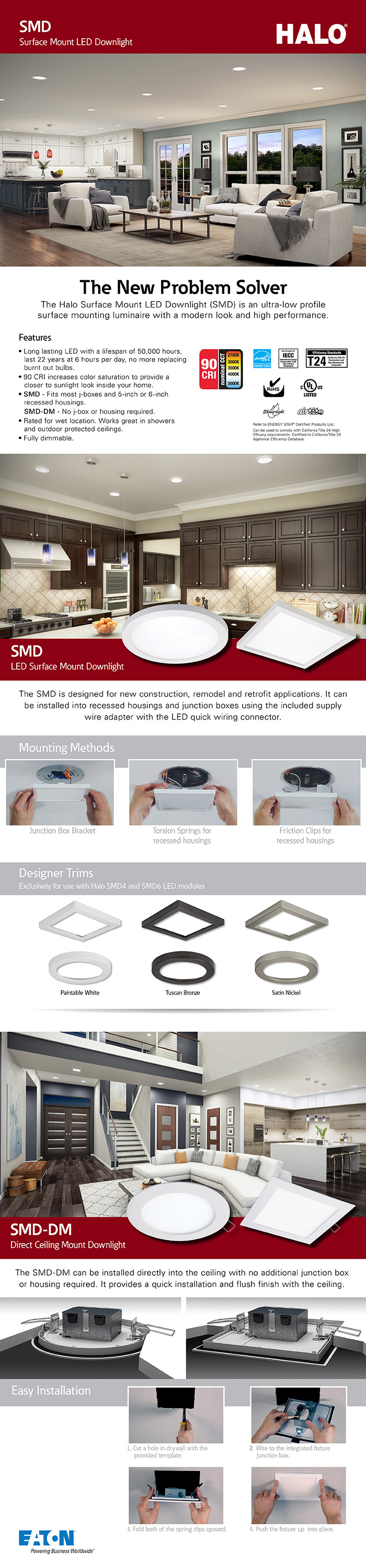 Halo Smd 4 In White Integrated Led Recessed Round Surface