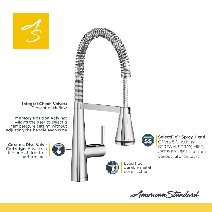 product overview the edgewater semi professional kitchen faucet from american standard. Interior Design Ideas. Home Design Ideas
