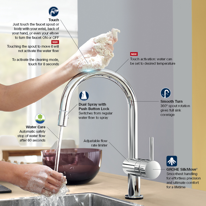 grohe minta touch single handle pull out sprayer kitchen tall kitchen faucet kohler kitchen faucets grohe kitchen