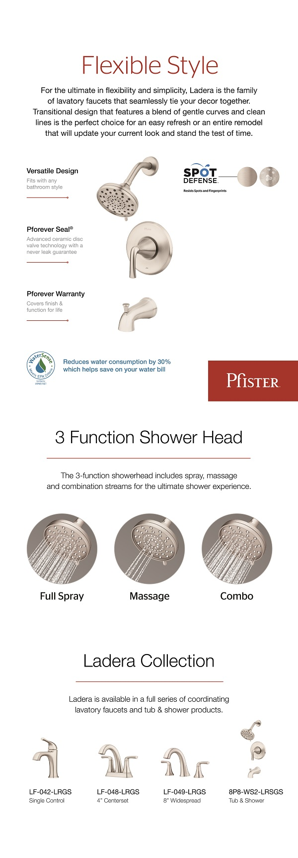 Wonderful Pfister Ladera Single Handle 3 Spray Tub And Shower Faucet In Spot .