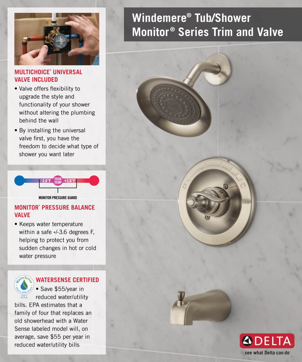 Home Depot Faucet 144996-BN T14 Shower with Valve Infographic