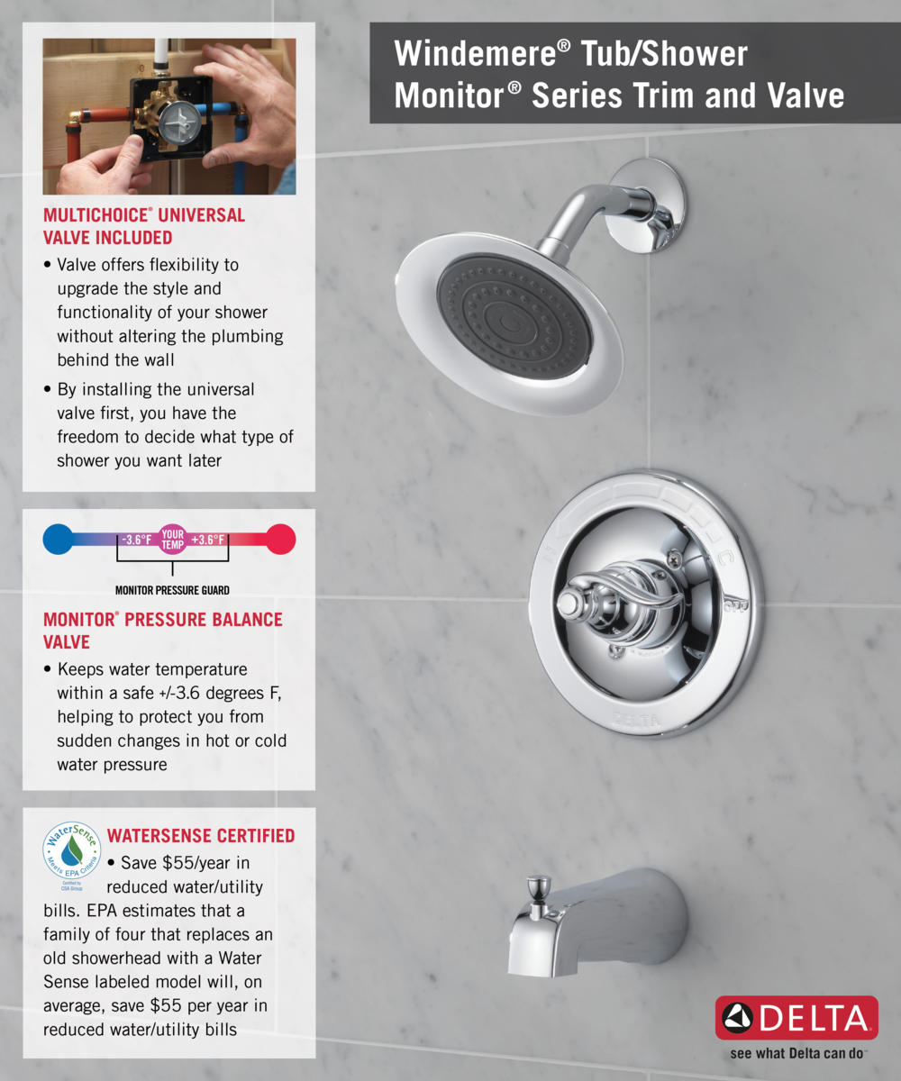 Delta Monitor Shower Faucet Low Water Pressure. Delta Windemere Single  Handle 1 Spray Tub And Shower Faucet In