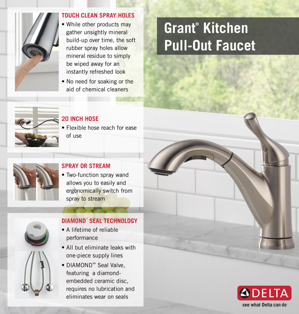 delta grant single-handle pull-out sprayer kitchen faucet in