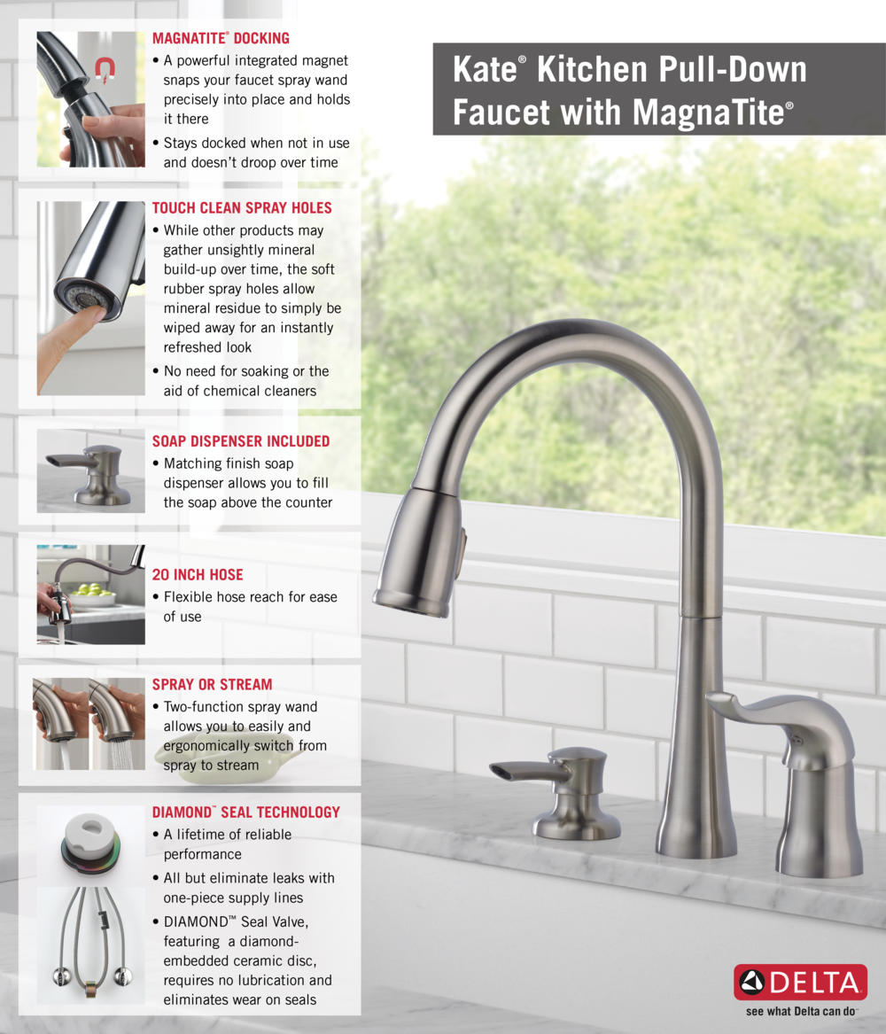 delta kate single handle pull down sprayer kitchen faucet with home depot delta faucet pull down with soap dispenser kitchen infographic