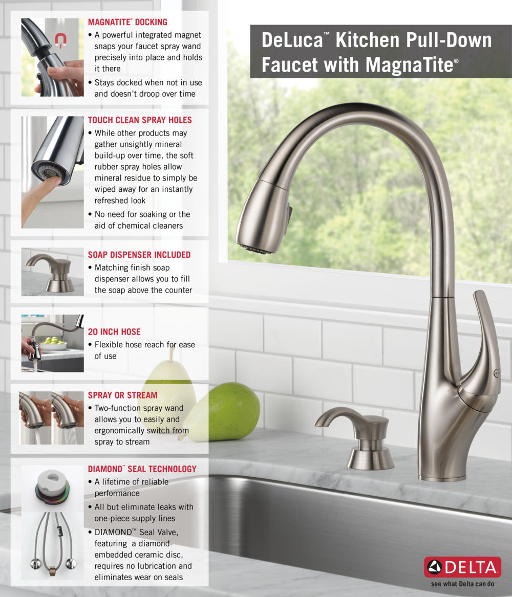 Awesome Delta Deluca Kitchen Faucet #3: Home Depot Delta Faucet Pull-Down With Soap Dispenser Kitchen Infographic