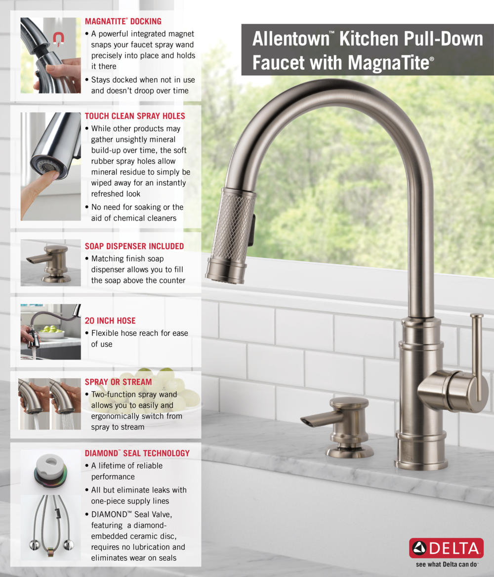 delta allentown single handle pull down sprayer kitchen faucet home depot delta faucet pull down with soap dispenser kitchen infographic