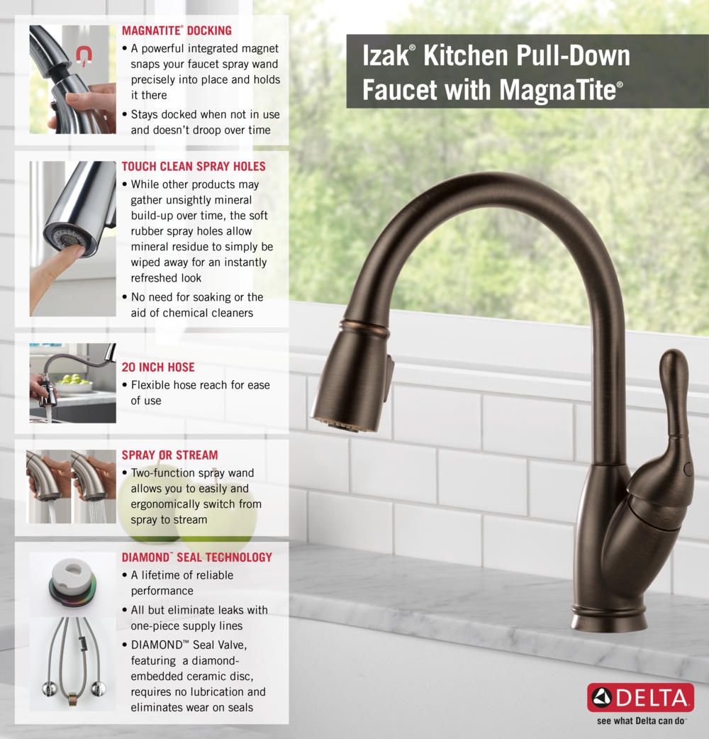 delta izak single handle pull down sprayer kitchen faucet in home depot delta faucet pull down kitchen infographic
