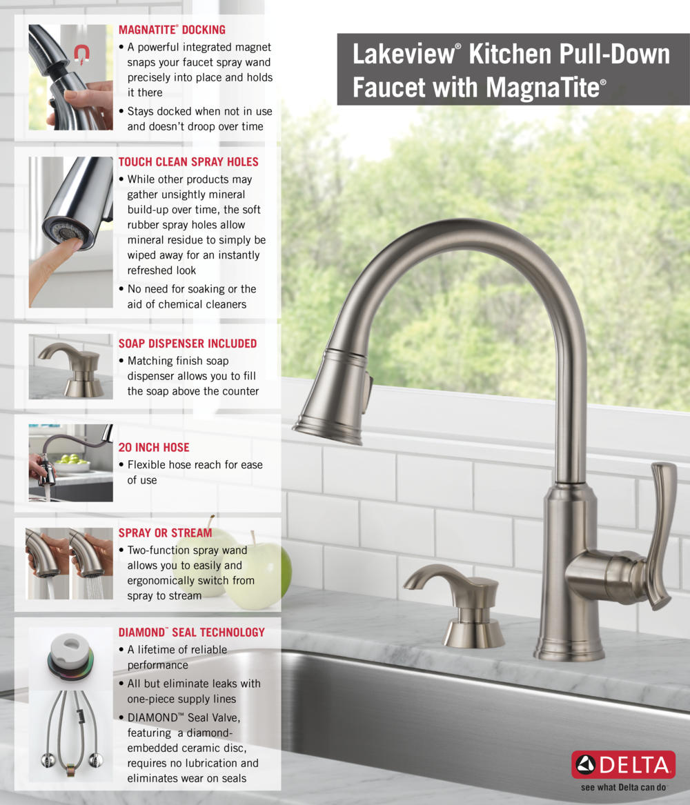 delta lakeview single handle pull down sprayer kitchen faucet with home depot delta faucet pull down with soap dispenser kitchen infographic