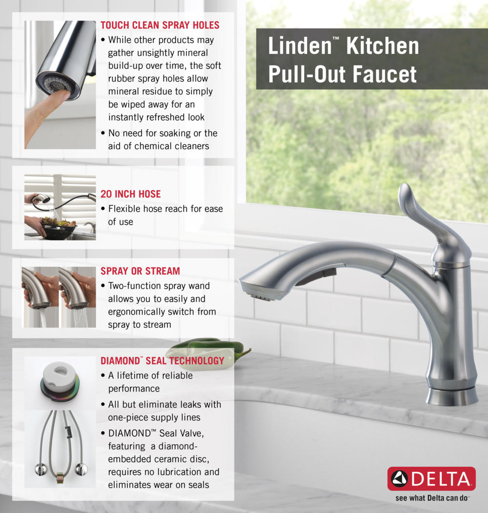 Delta linden single-handle side sprayer kitchen faucet in stainless