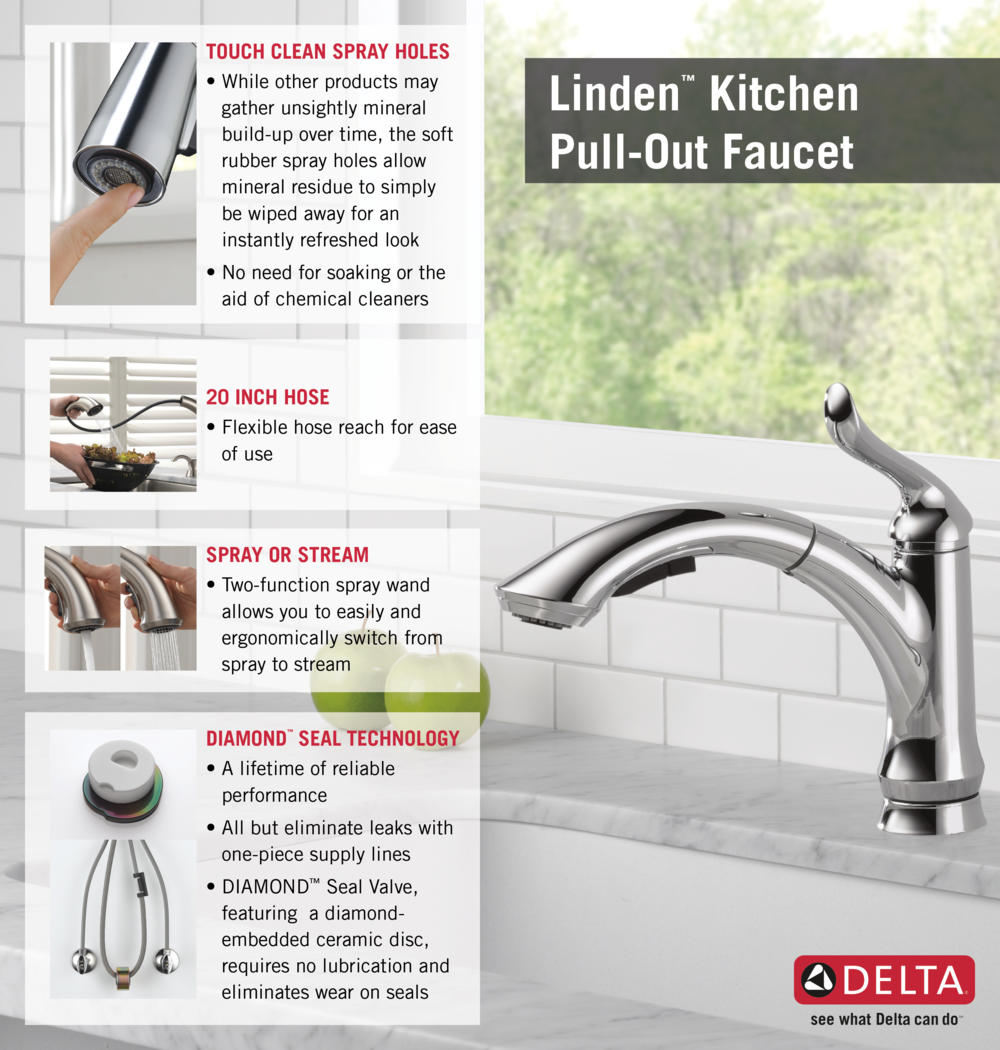 Delta Pull Out Kitchen Faucets delta linden single-handle pull-out sprayer kitchen faucet with