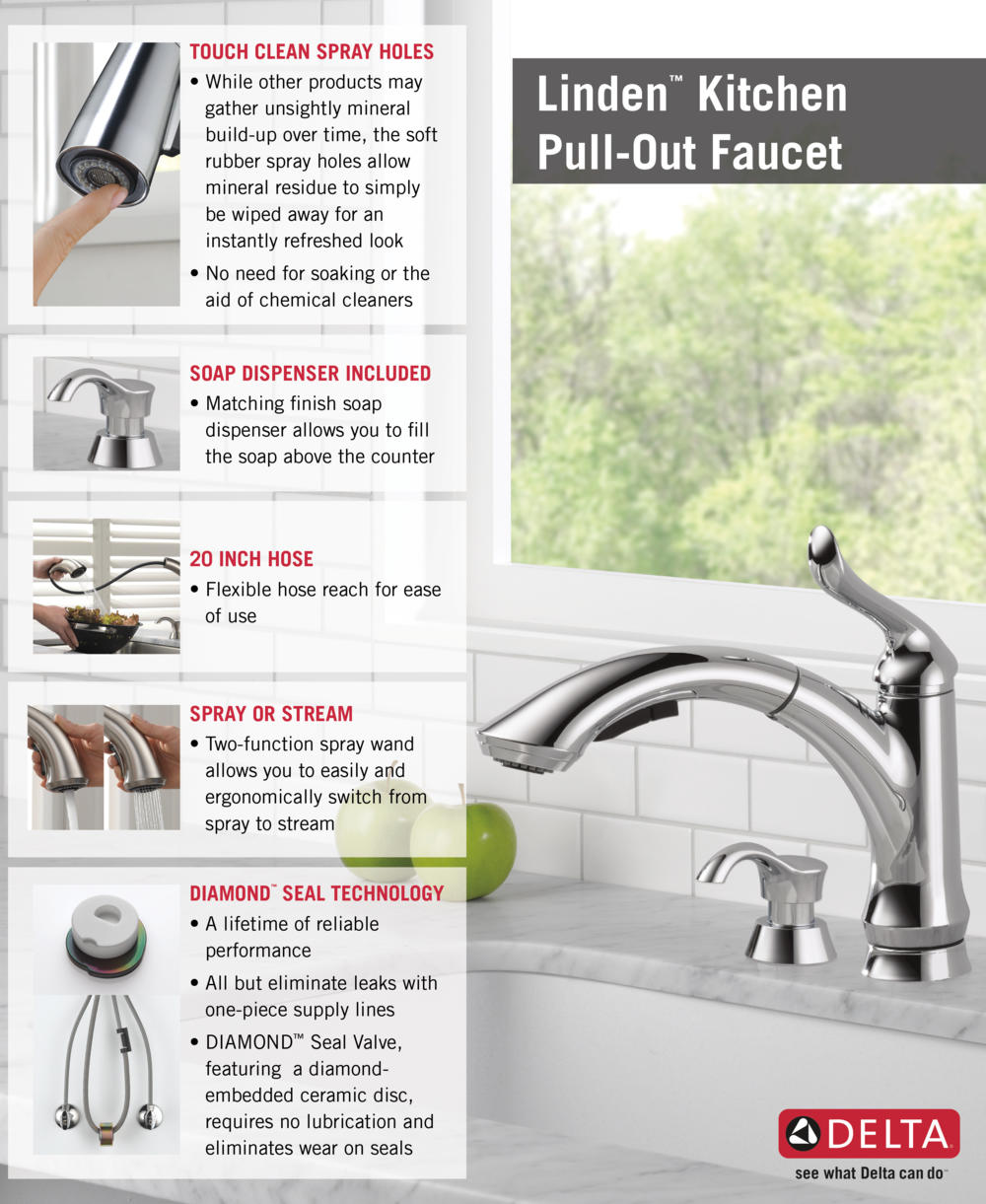 Home Depot Delta Faucet Pull-Out with Soap Dispenser Kitchen Infographic
