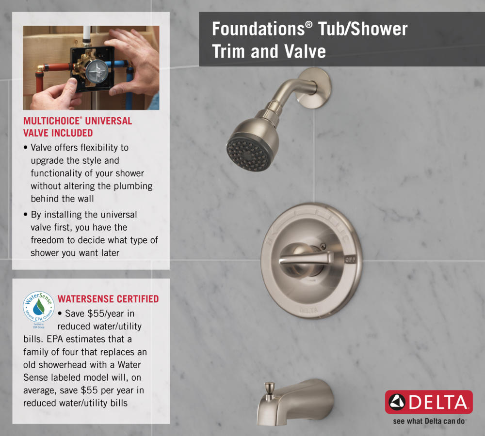 Home Depot Faucet B114900-SS T14 Shower with Valve Infographic