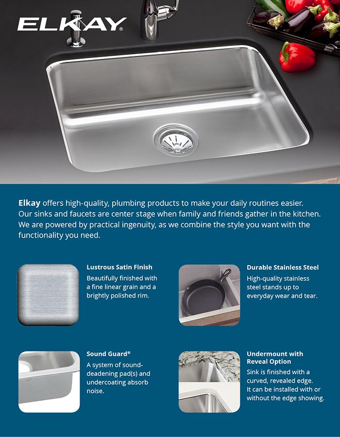 Elkay Gourmet Undermount Stainless Steel Single Bowl