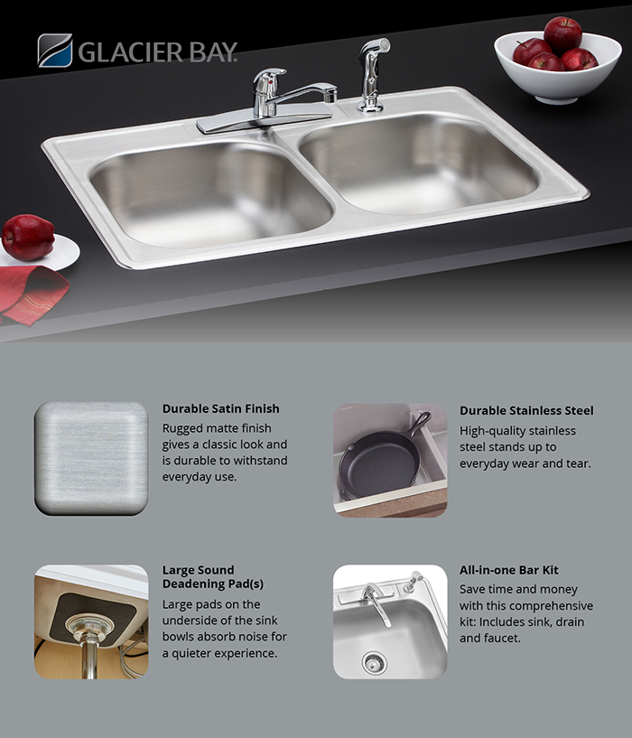 Glacier Bay All In One Drop In Stainless Steel 33 In 4 Hole Double Basin Kitchen Sink
