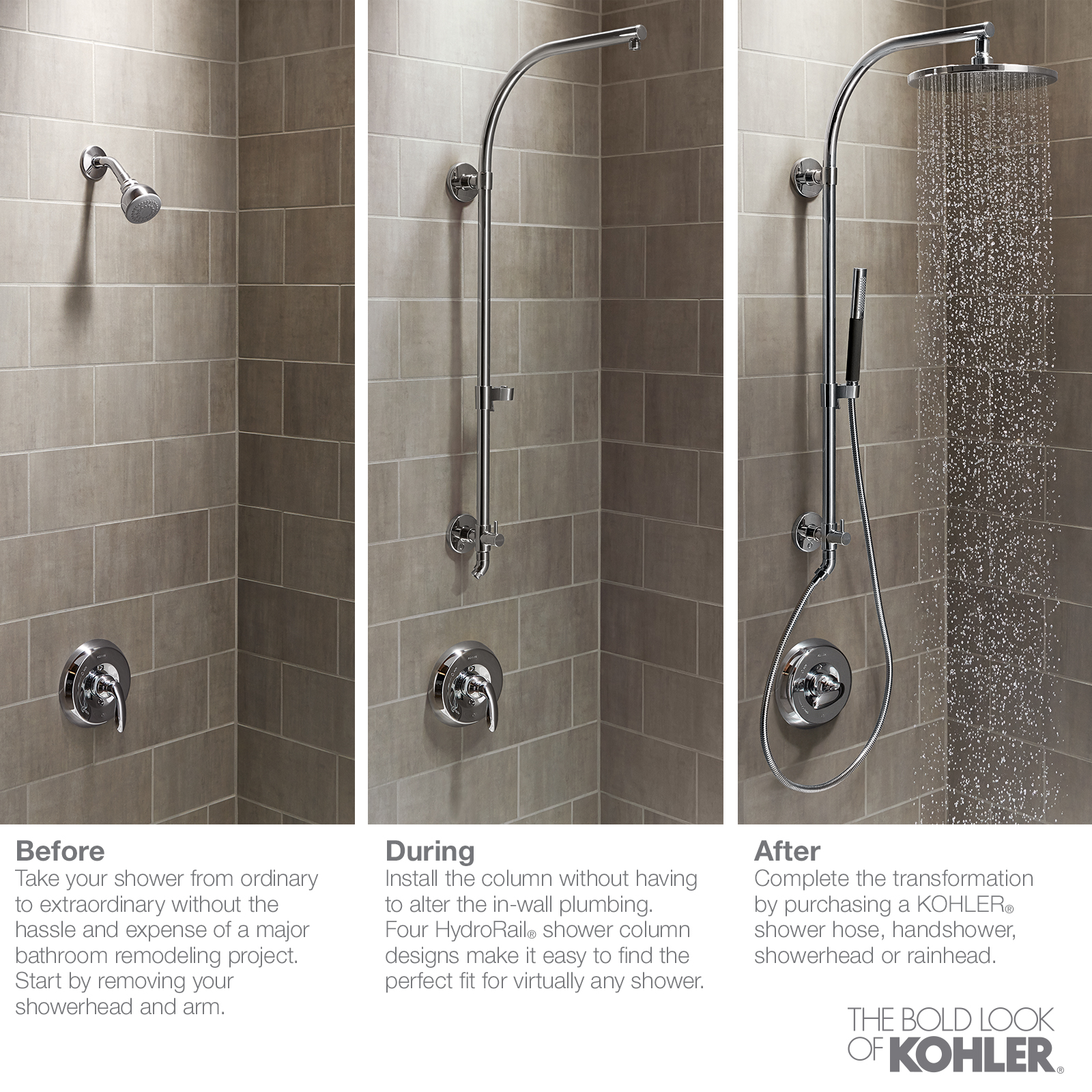 Kohler Hydrorail Shower Column In Polished Chrome For Beam