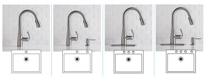 moen essie kitchen faucet 2 or 3 hole sink configuration - Moen Kitchen Sink Faucet