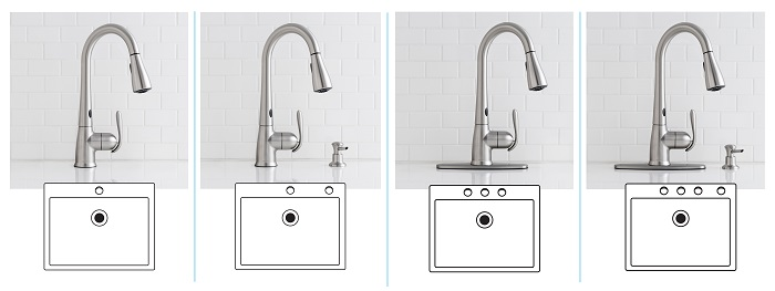 MOEN Haysfield Kitchen Faucet 1-, 2-, 3-, or 4-Hole Sink Configuration