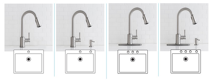MOEN Indi Kitchen Faucet 1- , 2-, 3-, or 4- Hole Sink Configuration