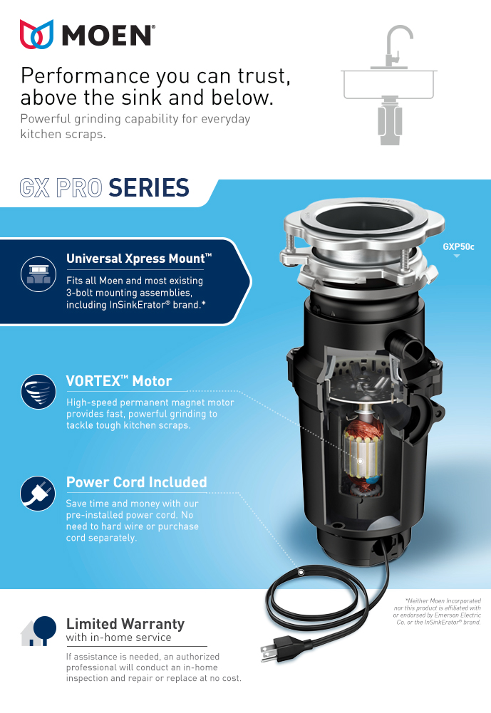 Moen Gx Pro Series 1 2 Hp Continuous Feed Garbage Disposal