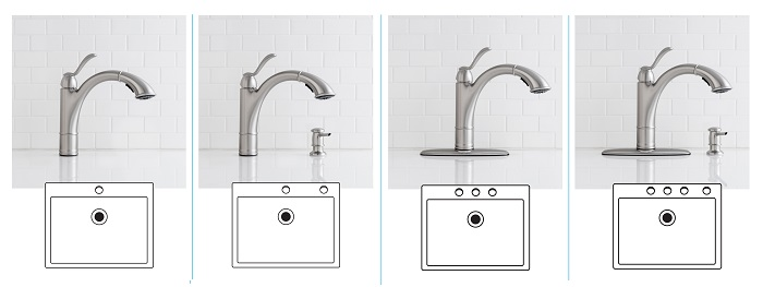 MOEN Walden Kitchen Faucet 1- , 2-, 3-, or 4- Hole Sink Configuration