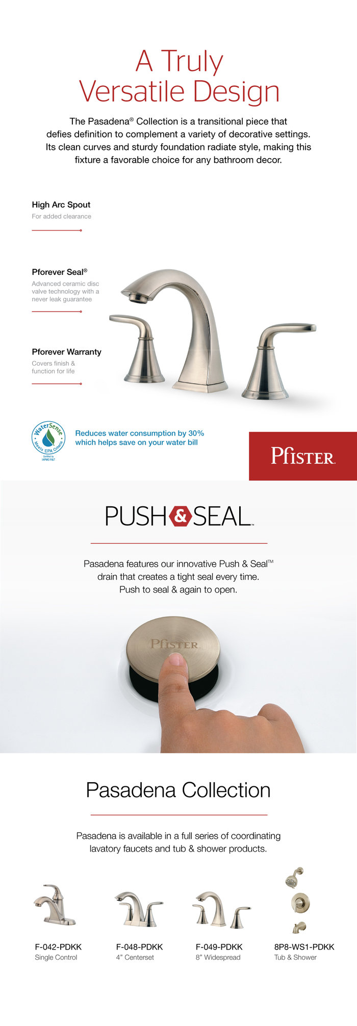 pfister pasadena 8 in. widespread 2-handle bathroom faucet in