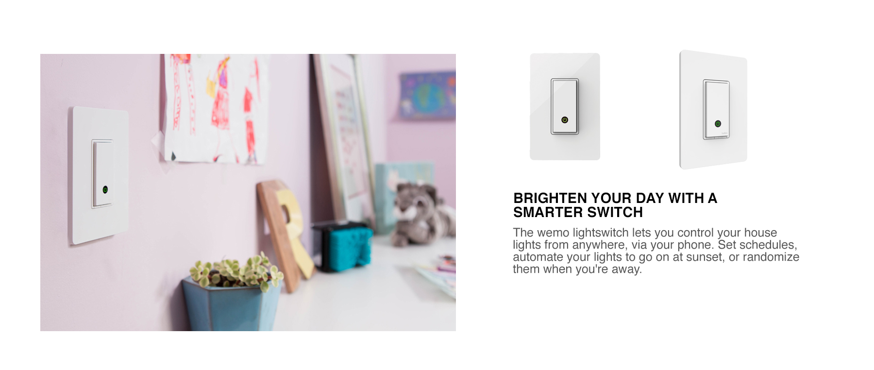 Belkin Wemo Wireless Wifi Light Control Switch Wall Mount