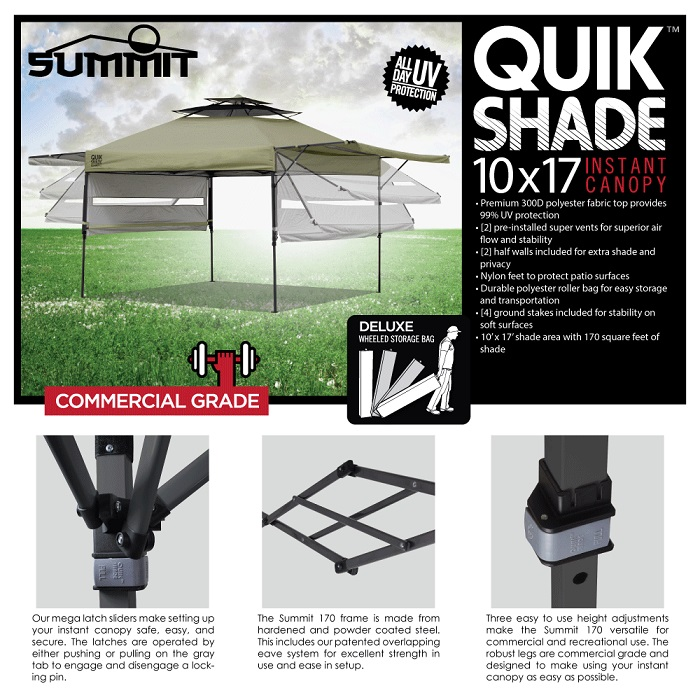 Quik Shade Summit 10 Ft X 17 Ft Instant Canopy In Taupe