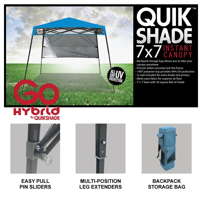 Quik Shade 6 Ft X 6 Ft Blue Go Hybrid Compact Backpack Canopy 157433ds The Home Depot