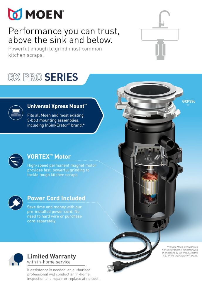 Moen Gx Pro Series 1 3 Hp Continuous Feed Garbage Disposal