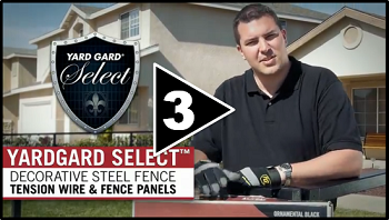 How to Install Decorative Steel Fence Part Three Tension Wire and Fence Panels