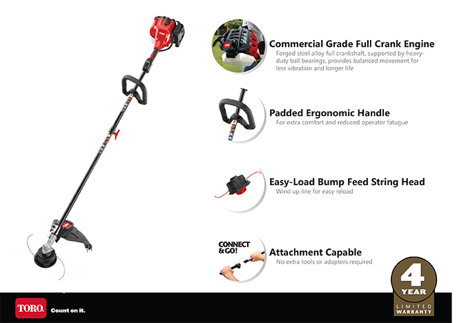 Toro 2-Cycle 25.4cc Attachment Capable Straight Shaft Gas String Trimmer