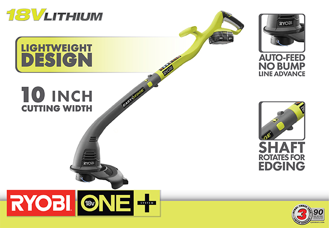One+ 18-Volt Lithium-Ion Electric Cordless String Trimmer and Edger